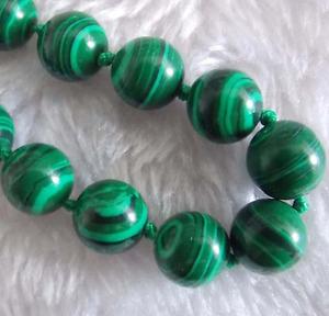 12mm Hot Green Multicolor malachite Round Gemstone Beads Necklace 18 ''