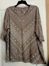 New Catherines Beige/Multi Color Printed Women Tunic Top Plus Size 1X