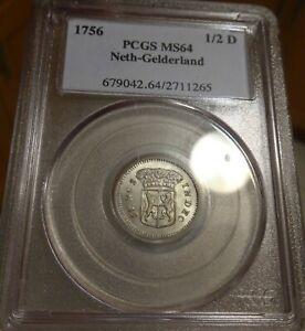 Netherlands Gelderland 1/2 Duit 1756 PCGS MS 64 *REGISTRY* (older blue holder)