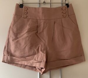 Topshop Pink Cotton and Linen Shorts with Button Details Size UK 8/US 4/EUR 36