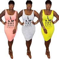 New Women Letter Printed Scoop Neck Sleeveless Bodycon Casual Club Mini Dress