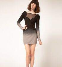 NEW STYLESTALKER 90210 BLACK GREY MESH CUT OUT BODYCON DRESS | SZ 8 | S - M