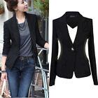 NEW Women Slim One Button Short Blazer Suit Jacket Coat Long Sleeve BLACK