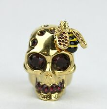 Alexander McQueen Aged Gold Skull Bee Cocktail Ring w/Crystals 13 230731 8890