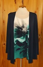 WINDSMOOR navy blue green grey floral cardigan tunic blouse top M 14-16 42-44