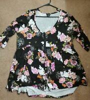 Torrid Plus Size 2X Fashion 3/4 Sleeve Peplum Blouse Top Floral