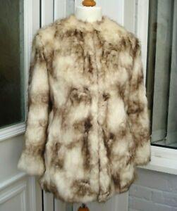 ZARA Brown Cream Long Hair Faux Fur Coat Jacket UK Size S 6/8 Blogger Vamp Warm