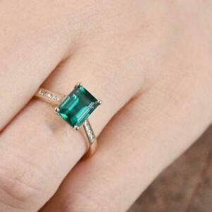 2.55Ct Emerald Cut Green Emerald Solitaire Engagement Ring 14K Yellow Gold Over