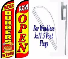 Best Burgers In Town Now Open Windless Swooper Flag With Complete Kit Pack of 2