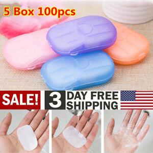 5 Box 100pcs Travel Disposable Pocket Paper Soap Mini Portable Soap Paper USA