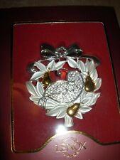 Lenox Partridge Pear Tree Gemmed Christmas Ornament Nib Beautiful Silver Gold T