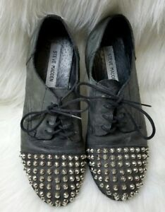 steve madden size 6 shoes lace up grey leather womens punk goth stud spikes rock