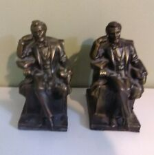 Vintage solid Pair of Abraham Lincoln Seated Bookends Abe Reading