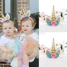 Hot Fun Kids Baby Unicorn Horn Hair Band Headband Birthday Party Flower Crown UK