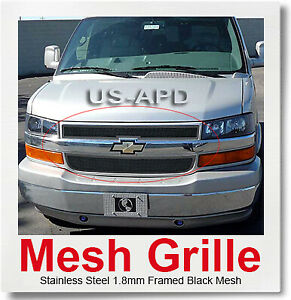 Fits 2003-2020 Chevy Express Van Main Upper Stainless Steel Black Mesh Grille