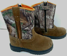 Game Winner Insulated Leather Camo BOOTS Zip Casual Western Hunt Toddler Boys 9D