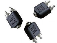 2XAV Converter 3.5mm Stereo Female Jack to Splitter 2 RCA Male Adapter Connector