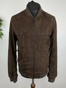 M&S Marks and Spencer sueded leather full zip bomber style jacket size small