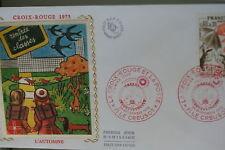 ENVELOPPE PREMIER JOUR SOIE 1975 CROIX-ROUGE AUTOMNE