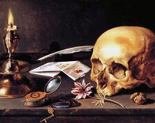 Freemason Still Life Vanitas Painting 8x10 Real Canvas Giclee Art Print New
