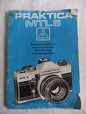 Istruzioni 35mm SLR Fotocamera Praktica MTL5 SPAGNOLO TEDESCO INGLESE-CD / Email