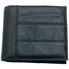 Embassy Men's Black Solid Genuine Leather Bi-Fold Wallet