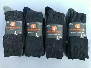 Weatherproof Men's Outdoor Thermal Crew Socks 5 Pack Grays Sock Size 10-13