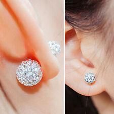 Bling Crystal Diamante Two Side Ball Double Use Earrings Ear Stud Women Jewelry