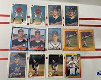 Lot of 13 Braves Rookie Baseball Cards - Tom Glavine, Chipper Jones, John Smoltz