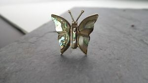 Sterling Silver Abalone Butterfly Vintage Pin Brooch 925 3.2 grams