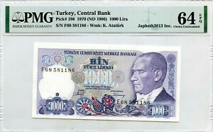 TURKEY 1000 LIRA 1970 ND 1986 CENTRAL BANK PICK 196 LUCKY MONEY VALUE $64