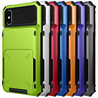 For iPhone XS Max XR 8 7 6 Plus Shockproof Rugged Armor Card Holder Case Cover