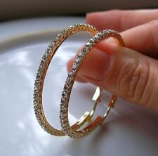 REAL GENUINE 9CT GOLD TOPAZ HOOP EARRINGS GF OVER 400 SOLD GOING FAST 001