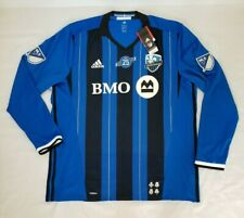 Mens 2XL Blue Black Adidas Climacool Montreal Impact MLS Soccer Jersey AB9418