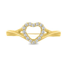 14K Yellow Gold Over Round Cut Heart Shape .70 Ct Diamond Womens Engagement Ring