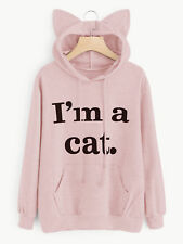Womens Long Sleeve Hoodie Sweatshirt Jumper Cat Ear Pullover Tops Blouse Coat U