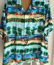 Pineapple Connection Mens 4XB Hawaiian Tropical Shirt Vintage Cars Palms Ocean