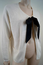 CLAUDIE PIERLOT Cream Cotton Angora Wool Silk Blend Textured Black Bow Cardigan