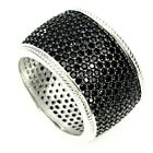 Luxury Round Cut 1mm Top Black Spinel 925 Sterling Silver Ring Size 6