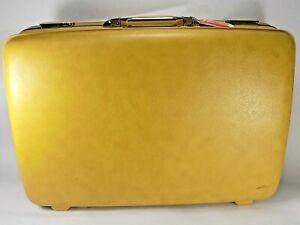 VINTAGE AMERICAN TOURISTER LUGGAGE HARDCASE SUITCASE YELLOW/ GOLD w/ Combination