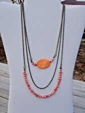 Handmade Bronze Chain Necklace Peach Freshwater Pearls and Orange Shell Beads