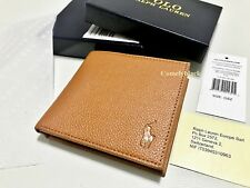 MENS AUTHANTIC RALPH LAUREN BILLFOLD TAN BROWN LEATHER COIN WALLET 4SLOTS BOXED