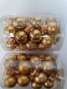 2 X Packs Glass Gold Baubles hanging Christmas Ornaments Xmas Tree Decor 2cm
