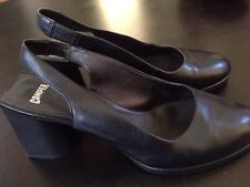 CAMPER Black Leather Block Heel Slingback Clugs Shoe Size 38  8
