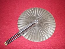 """Vintage Hand-Painted Hand Fan Asian Cockade Style 13-1/2"""" Unfurled Black"""