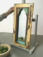 VINTAGE INDIAN FURNITURE. ART DECO, MUGHAL ARCH TEMPLE MIRROR. CAPPUCCINO & JADE