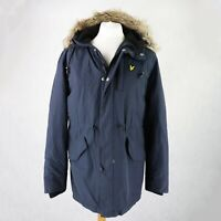 Mens LYLE & SCOTT Winter Parka Jacket Size LARGE Hooded Fleece lined warm Coat