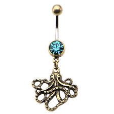 "Octopus Belly Navel Ring with Antique Brass Dangle Charm - 14g-7/16""(11mm)"