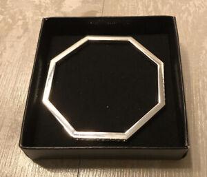 NEW AVON Octagon Geometric Silver Plate Bracelet Bangle Rhinestones FASTSHIP Box
