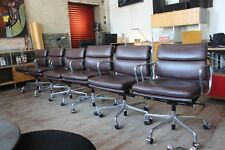 HERMAN MILLER EAMES ALUMINUM GROUP MANAGEMENT CHAIR BROWN MCL LEATHER (4 Avail)